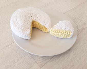 White and yellow camembert cheese Dinette crochet handmade