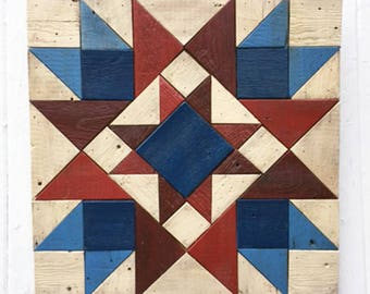 Patriotic Red White and Blue - Reclaimed Wood Quilt Block