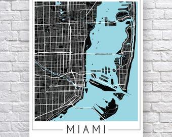 Miami Map Art Print, City Map of Miami Art Poster, Miami Street Map, Miami wall art, Miami Art, Miami FL gift, travel poster, Miami Florida