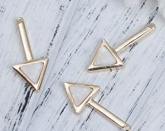 5 pendants arrow gold & Imitation Opal white 3.0 cm
