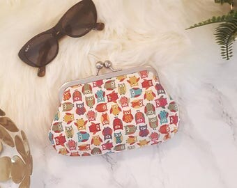 Owl colourful clutch purse, gift for her, personalised gift, Birthday present, bridesmaids gift, wedding clutch, Handcrafted in uk