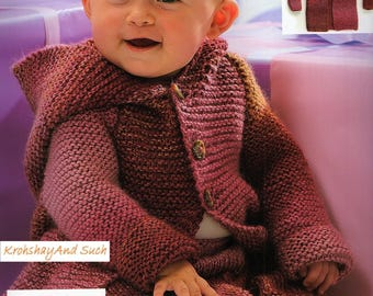 Baby Garter Stitch Hoodie With Pants, Easy Knit, Knitting Pattern. PDF Instant Download.