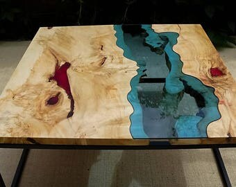 SOLD Live edge river coffee table with red epoxy inlay SOLD