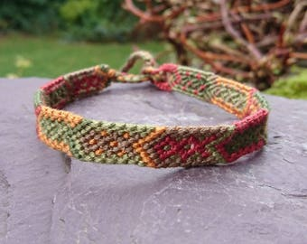 Brown and Green Arrow Anklet/Armband, Macrame Anklet, Macrame Armband, Woven Anklet, Woven Armband, Tribal Anklet, Tribal Armband, Festival