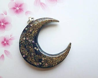 Cresent Moon and Stars Charm Pendant