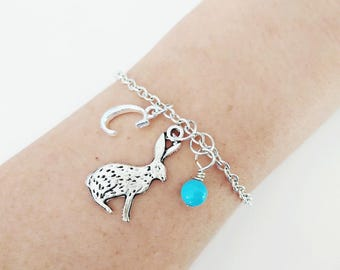 Rabbit   bracelet Personalized bracelet Rabbit Jewelry Gift bracelet Initial bracelet