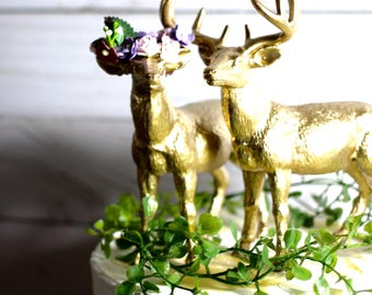 Rustic Wedding Cake Topper Animal Wedding Cake Topper Deer Wedding Cake Topper Gold Animal
