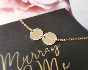 Personalised gold disc necklace, gold initial necklace, gold letter necklace, gold disc necklace, gold monogram necklace, gold necklace
