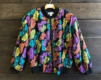 Vintage 90s Feather Print Windbreaker Jacket