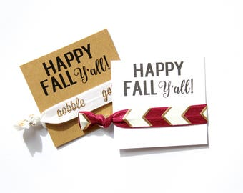 Happy Fall Y'all Hair Tie | Happy Fall Y'all Elastic Hair Tie | Fall | Gobble | Gold | Happy Fall | Maroon | Happy Thanksgiving