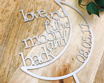 Love You To The Moon and Back Cake Topper Decorations Cake Toppers Personalised Cake Toppers Cake Decoration To The Moon & Back Sugar Boo