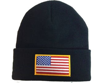 Black Beanie with Embroidered American Flag Patch/Gold outlined
