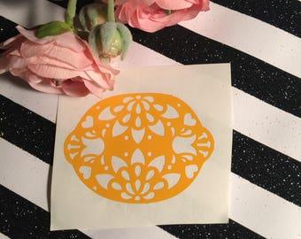 Lemon Sticker With Floral Cutouts , Lemonade Party Decor , Fruit Sticker For Mason Jar , Lemonade Birthday Party Favor , Fruit Decor For Cup