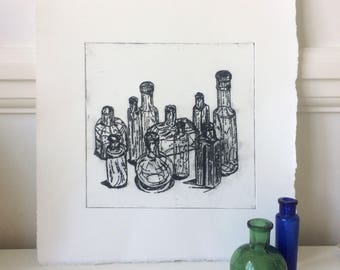 Glass Bottles Group. Original Hand Pulled Drypoint Print (Signed Artist's Proof).