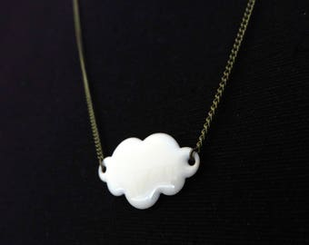 Brass white enamel cloud necklace