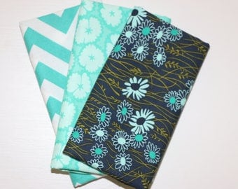 SALE - 3 Fat Quarters - teal and navy - cotton fabric
