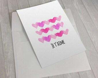 """Carte de St-Valentin """"Je t'aime"""" en version imprimable"""