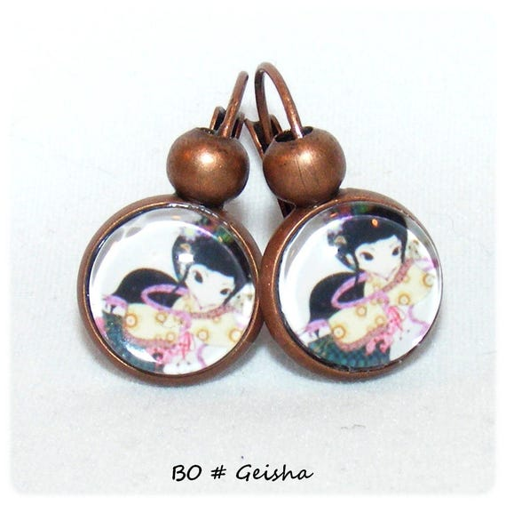Earrings # # Geisha # dollydoo # girl gift unique earrings glass cabochons