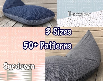 Bean Bag Chair or Lounger - Double Sided - Choose Your Size and Pattern - Waterproof Lining Included!