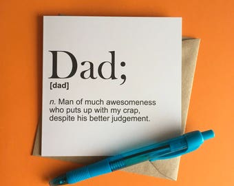 Father's Day card | Dad definition | Awesome Dad | Thanks Dad