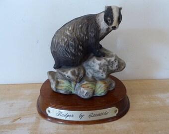 Resin Badger by Leonardo, Animal Figurine, Fauna Ornament on Wooden Plinth. 1017021-389