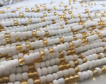 African Waist Beads -- White & Gold Crystal (Large) -- 45""