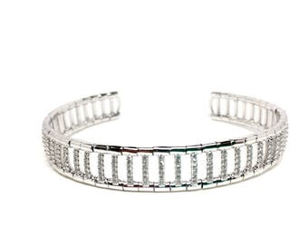 Stunning woman jewellery 925 Sterling Silver Italian Bangle with Crystals. Luxurious Gift Box included. 40th birthday gift for women