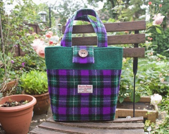 Harris Tweed handbag, tote bag, daybag, purple and green check tartan, limited edition fabric