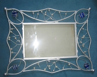 Beautiful Picture/Photo Frame with Pearls and Blue Bead Accents in Twisted Wire