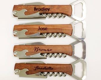 Groomsmen Bottle Opener, Custom Corkscrew, Engraved Wine Opener, Wedding Party Gifts, Custom Bottle Opener, Monogram Corkscrew