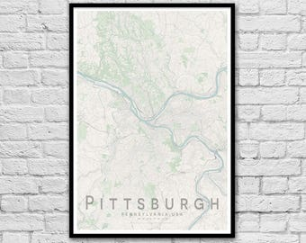 PITTSBURGH Pennsylvania USA City Street Map Print | Wall Art Poster | Wall decor | A3 A2