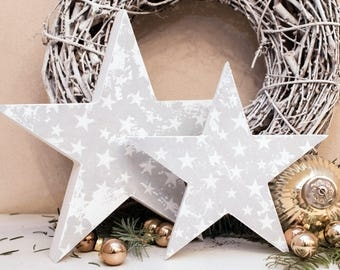 """Set of 2 wooden Stars """"Grey"""" (20, 5cm and 15, 5cm)"""