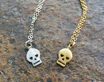 Skull Necklace//Tiny Skull Pendant Necklace//Gold Skull Necklace//Silver Skull Necklace//Sugar Skull Necklace//Simple Skull Necklace