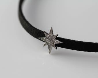 Star Choker Necklace, Velvet Choker, Unique Choker, Sterling Silver Choker, Gift for Women, Unique Gifts, Fashion Necklace