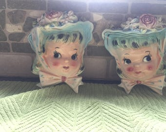 Darling Wall Pockets, 2 Antique Girls, Mint condition