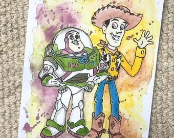 Disney's Woody and Buzz Lightyear from Toy Story Watercolour Painting Print in A5 & A4.