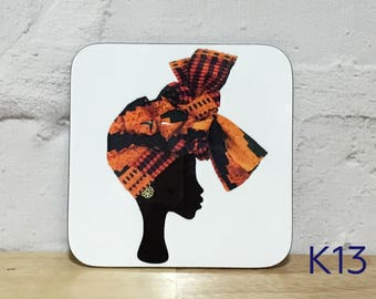 Headwrap coasters, African coasters, unique coasters, headwrap women coasters, drinks mat, drinkware, birthday gift for her, UK free shippin