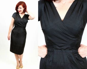 1950s Perfect Inky Black Little Black Dress - Small