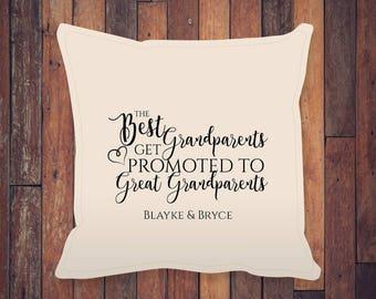 "Great Grandparents 18x18"", New Baby Gift, Birthday Gift, Wedding Gift, Christmas Gift, Custom Pillow Cover"