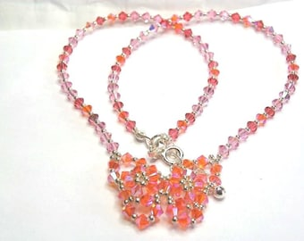 Butterfly light orange pink Swarovski Crystal Necklace silver 925th finishes