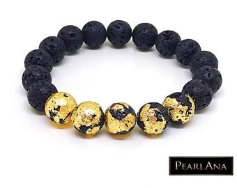 Black lava stone and 24K gold bracelet