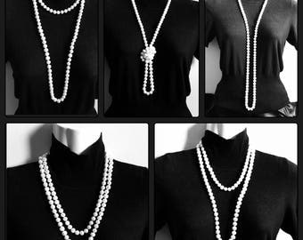 Extra long, white, freshwater pearl necklace 46 inches 9-10mm