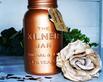 Limited anniversary kilner jars, metallic gold, silver, champagne and copper, vase, home decor