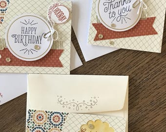 Set of 3 Handmade Greeting cards;  Birthday, and Thank You