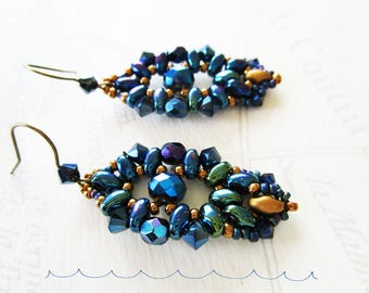 Beaded earrings, blue beetle and midnight Blue Crystal super-duos
