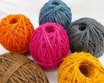 Hemp Twine / Chunky Yarn / Boho Jewelry / Macrame Bracelet / Macrame Cord / Yarn for Weaving / Hemp Bracelets / Hemp Necklace / Rustic Yarn