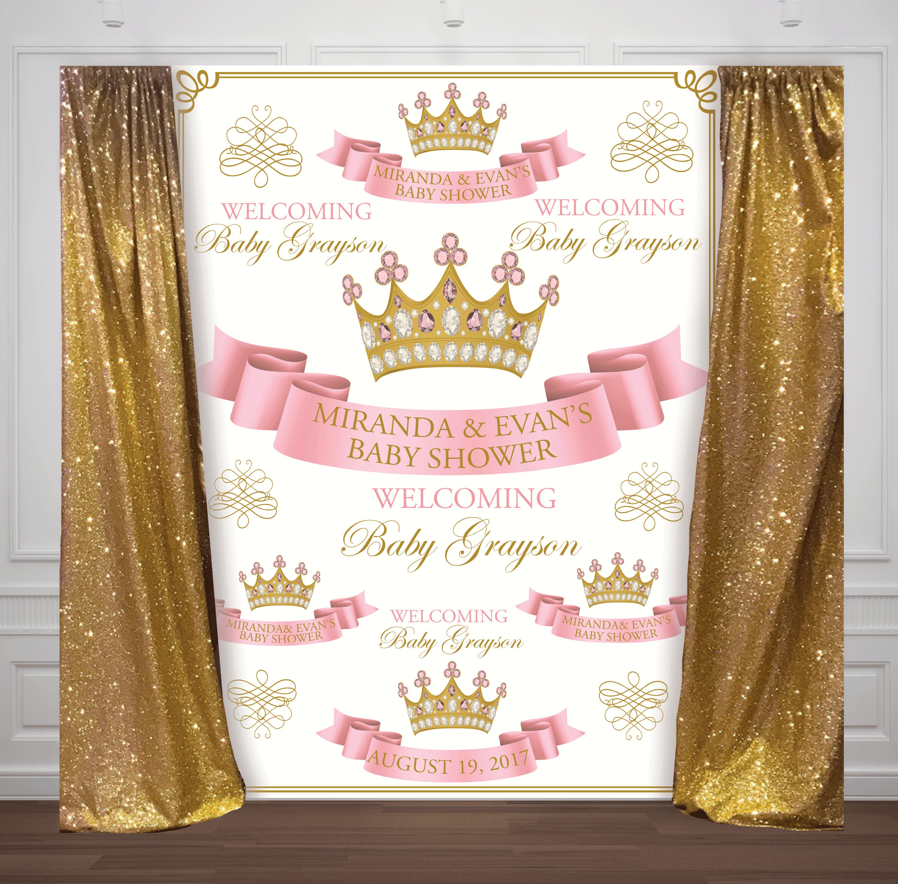 Excellent step and repeat pink and gold princess, crown, baby shower, 1st  JV96