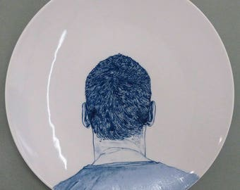 Hand painted porcelain collection plate  - portrait blue back