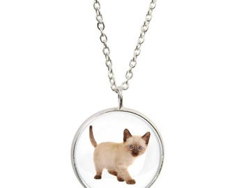 Siamese Cat Design Pendant and Silver Plated Necklace