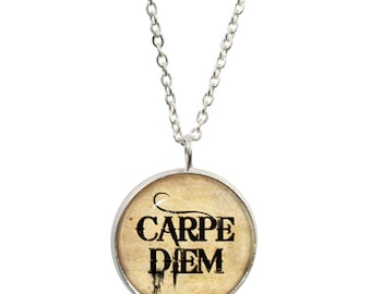 Carpe Diem Pendant and Silver Plated Necklace